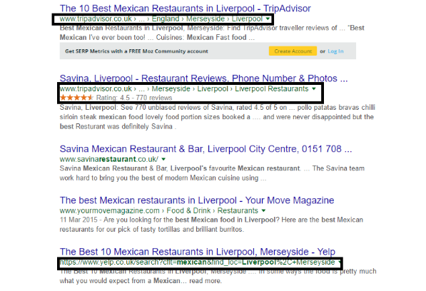 local business reviews serp